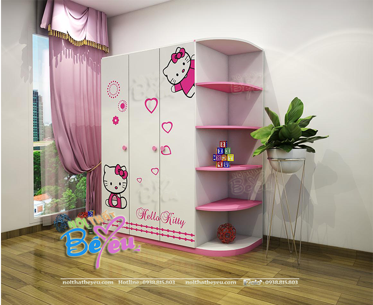 tu ao tre em cho be gai hello kitty 3 canh mau hong